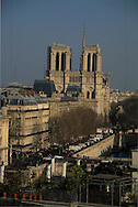 France. Paris. 6th district. Elevated view.  Seine River, Notre dame cathedral, city island , roofs, view from Citadines apart' hotel  Saint Germain