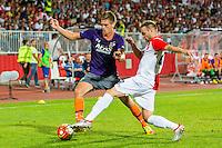 NOVI SAD - 18-08-2016, Vojvodina - AZ, Karadjordje Stadion, AZ speler Markus Henriksen, Vojvodina speler Maksimovic Novica