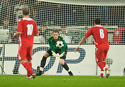 MONCHENGLADBACH, GERMANY - Wednesday, October 15, 2008: Wales' goalkeeper Wayne Hennessey in action against Germany during the 2010 FIFA World Cup South Africa Qualifying Group 4 match at the Borussia-Park Stadium. (Photo by David Rawcliffe/Propaganda)
