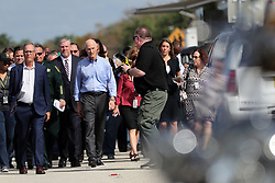 Governor Rick Scott, FBI Special Agent in Charge Rob Lasky, Broward County Sheriff Scott Israel and others arrive to speak at a news conference on Thursday, February 15, 2018, near Marjory Stoneman Douglas High School in Parkland where where 17 people were killed Wednesday. Photo by Amy Beth Bennett/Sun Sentinel/TNS/ABACAPRESS.COM
