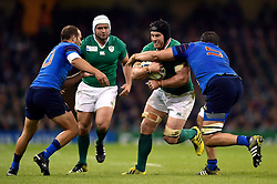 Sean O'Brien of Ireland is tackled by Yoann Maestri of France - Mandatory byline: Patrick Khachfe/JMP - 07966 386802 - 11/10/2015 - RUGBY UNION - Millennium Stadium - Cardiff, Wales - France v Ireland - Rugby World Cup 2015 Pool D.