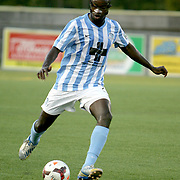 Wilmington Hammerheads FC's Ashani Fairclough controls the ball against Toronto FC's Wednesday June 18, 2014 at Legion Stadium in Wilmington, N.C. (Jason A. Frizzelle)
