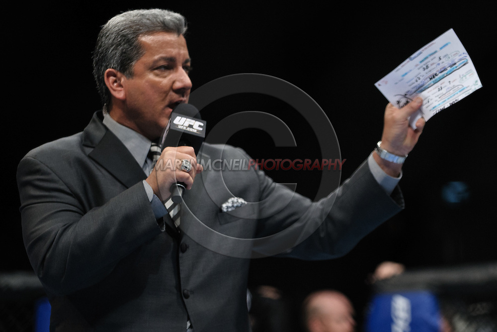"LONDON, ENGLAND, OCTOBER 2010: Bruce Buffer during ""UFC 120: Bisping vs. Akiyama"" inside the O2 Arena in Greenwich, London"