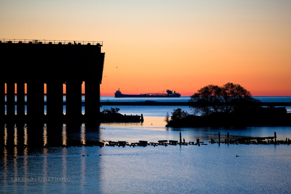 complimentary colors, freighter and ore dock, Marquette MI
