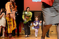 Meyrem Almaci receives flowers during the Turkish International Childrens festival held yearly all over Belgium. Antwerpen, Belgium, 2012