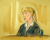 ©PRISCILLA COLEMAN (ITV) 02.09.03.ARTWORK SHOWS: VANESSA HUNT AT THE HIGH COURT TODAY, WHERE SHE APPEARED AS A WITNESS IN THE HUTTON INQUIRY INTO THE DEATH OF DR DAVID KELLY..ARTWORK BY: PRISCILLA COLEMAN (ITV)