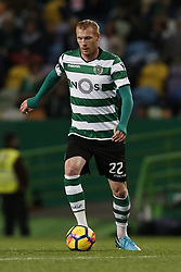 December 1, 2017 - Lisbon, Portugal - Sporting's defender Jeremy Mathieu in action  during Primeira Liga 2017/18 match between Sporting CP vs CF Belenenses, in Lisbon, on December 1, 2017. (Credit Image: © Carlos Palma/NurPhoto via ZUMA Press)