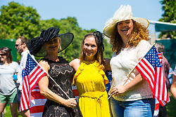 L-R Michelle Stenmark of Orange County, California, Tanya Graff of Texas and Jennifer Jacobs of Orange County, California as  excitement builds on the Long Walk on the procession route ahead of the royal wedding. Windsor, May 19 2018.