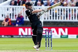 Kane Williamson of New Zealand hits a four - Mandatory by-line: Robbie Stephenson/JMP - 14/07/2019 - CRICKET - Lords - London, England - England v New Zealand - ICC Cricket World Cup 2019 - Final