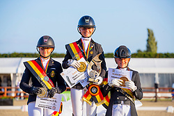 Podium Ponies, De Jong Jette, Collard Clara, Brauwers Louise <br /> Belgisch Kampioenschap) - Hulsterlo -Meerdonk 2019<br /> © Hippo Foto - Leanjo de Koster<br /> 10/08/2019