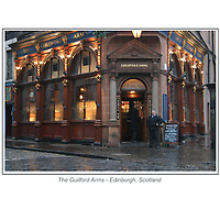 The Guilford Arms in Edinburgh, Scotland.<br /> <br /> This print is 16 x 20 inches in size.<br /> <br /> You will have the option to purchase this print as a stand alone print, or<br /> <br /> Mounted to foamcore that is ready for matting and framing, or<br /> <br /> Mounted as a standout.<br /> The Standout is a thick lightweight board finished with a black plastic edge and comes ready to display with hanging holes on the backside.