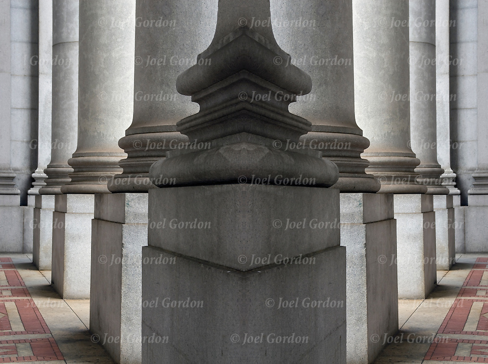 Beaux-Arts architectural details of  columns. Which Direction to go Right or Left of the Columns.<br /> <br /> Image has been duplicated, flipped, altered and manipulated creating illusion.