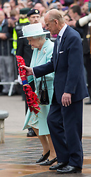 COLERANE- UK- 25-JUNE-2014: Britain's Queen Elizabeth accompanied by HRH The Duke of Edinburgh attend a wreath laying ceremony with the British Legion in Colerane, Northern Ireland at the end of their official 3 day visit.<br /> Phootgraph by Ian Jones