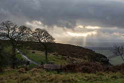 © Licensed to London News Pictures. 02/11/2019. Chesterfield, UK. A break in the clouds on Curbar Edge, Derbyshire, after heavy rain and strong winds have hit large areas of the UK this weekend. Photo credit : Tom Nicholson/LNP