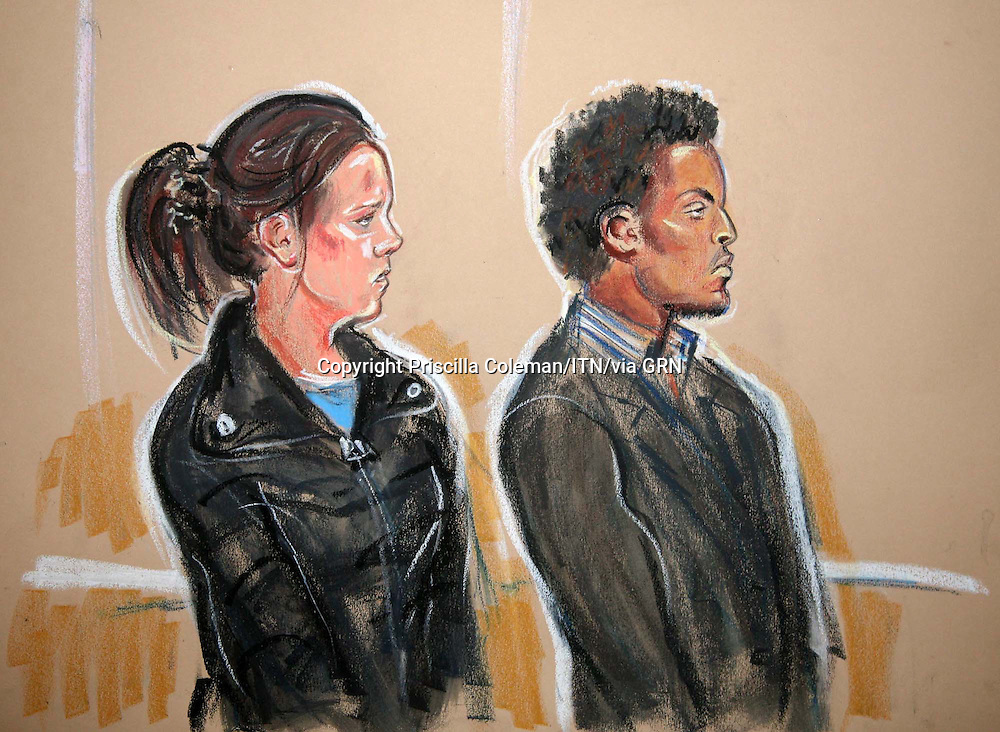 ©Priscilla Coleman ITV News.Supplied by: Photonews Service Ltd Old Bailey.Pic shows: Samuel Duncan, 27, and his 23-year-old partner, Kimberly Harte, kicked, scalded and effectively scalped the girl, who has cerebrDuncan was sentenced to 10 and a half years and Harte was sentenced to 11 and a half years, at Middlesex Crown Court. The couple, of Maida Vale, west London, admitted three counts of child cruelty. They had denied charges of causing grievous bodily harm with intent, but were convicted at the end of a trial last December.al palsy..Illustration: Priscilla Coleman ITV News