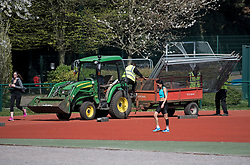 © Licensed to London News Pictures. 04/04/2020. London, UK. Fencing being erected around an area of at Paddington Recreation Ground in London to prevent people exercising in groups. The public have been told they can only leave their homes when absolutely essential, in an attempt to fight the spread of coronavirus COVID-19 disease. Photo credit: Ben Cawthra/LNP
