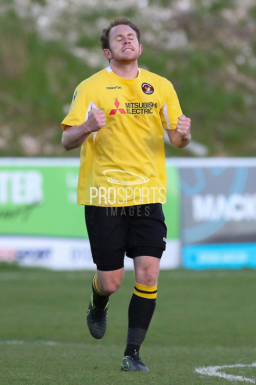 Ebbsfleet Stuart Lewis celebrates his goal during the National League South Play Off 1st Leg match between Whitehawk FC and Ebbsfleet United at the Enclosed Ground, Whitehawk, United Kingdom on 4 May 2016. Photo by Phil Duncan.
