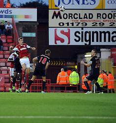 Bristol City's Aden Flint  heads across goal  - Photo mandatory by-line: Joe Meredith/JMP - Tel: Mobile: 07966 386802 27/08/2013 - SPORT - FOOTBALL - Ashton Gate - Bristol - Bristol City V Crystal Palace -  Capital One Cup - Round 2