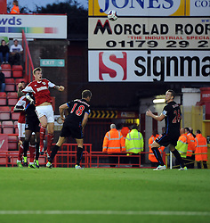 Bristol City's Aden Flint  heads across goal  - Photo mandatory by-line: Joe Meredith/JMP - Tel: Mobile: 07966 386802 27/08/2013 - SPORT - FOOTBALL - Ashton Gate - Bristol - Bristol City V Crystal Palace -  Capital One Cup - Round 2