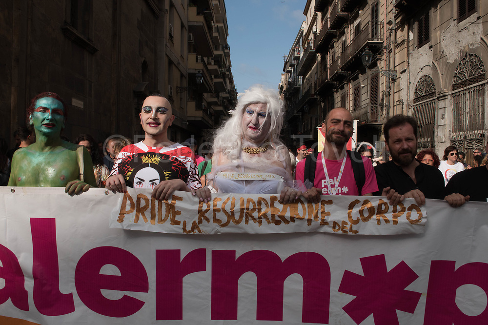 Founder of the national gay assotiation called ArciGay, Palermo Massimo Milani leads the center of the banner the annual Palermo Pride, the largest gay pride in the Mediterranean area