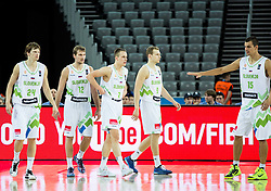 Jaka Klobucar of Slovenia, Zoran Dragic of Slovenia, Klemen Prepelic of Slovenia, Jaka Blazic of Slovenia and Jure Balazic of Slovenia during basketball match between Slovenia vs Netherlands at Day 4 in Group C of FIBA Europe Eurobasket 2015, on September 8, 2015, in Arena Zagreb, Croatia. Photo by Vid Ponikvar / Sportida