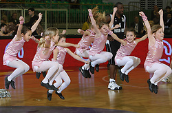 Mini Zmajcice - dance group during second semi-final match of Basketball NLB League at Final four tournament between KK Partizan Igokea, Beograd, Serbia and Union Olimpija, Ljubljana, Slovenia, on April 25, 2008, in Arena Tivoli in Ljubljana. Match was won by Partizan 94:90. (Photo by Vid Ponikvar / Sportal Images)
