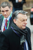 Viktor Orban, Prime Minister of Hungary, takes a deep breath, arriving at a EU Budget summit at the European Council building after a break in Brussels, Friday, Feb. 8, 2013. A European Union summit to decide EU spending for the next seven years entered a second day after all-night negotiations left a standoff over spending unresolved. The leaders of the 27 nations inched toward a compromise Friday that would leave their common budget with a real-term cut for the first time in the EU's history.