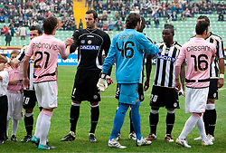 Armin Bacinovic of Palermo and Samir Handanovic of Udinese during football match between Udinese Calcio and Palermo in 8th Round of Italian Seria A league, on October 24, 2010 at Stadium Friuli, Udine, Italy.  Udinese defeated Palermo 2 - 1. (Photo By Vid Ponikvar / Sportida.com)