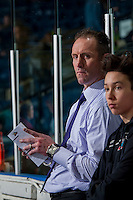 KELOWNA, CANADA - FEBRUARY 13: Kelowna Rockets' head coach Jason Smith stands on the bench during warm up against the Seattle Thunderbirds on February 13, 2017 at Prospera Place in Kelowna, British Columbia, Canada.  (Photo by Marissa Baecker/Shoot the Breeze)  *** Local Caption ***