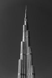 Detail of facade of Burj Khalifa skyscraper in Dubai, United Arab Emirates, UAE