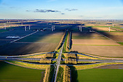 Nederland, Flevoland, 28-02-2016; Provinciale weg 706, Vogelweg. Kruising met A27.<br /> De beplanting van de Vogelweg is een voorbeeld van de landschapsarchitectuur van Flevoland.<br /> Vogelweg, example of landscape architecture in the new polder Flevoland.<br /> <br /> luchtfoto (toeslag op standard tarieven);<br /> aerial photo (additional fee required);<br /> copyright foto/photo Siebe Swart