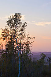 Sunset as seen from the lower slopes of Black Mountain in Sutton, New Hampshire.