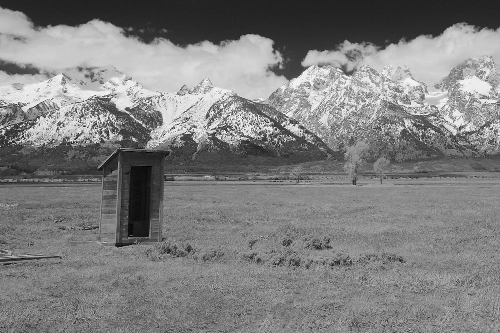 Mormon Row Outhouse - Grand Tetons, WY - Infrared Black & White