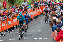 Sprint to victory with Julian Alaphilippe (FRA) of Deceuninck - Quick Step (BEL,WT,Specialized) and Jakob Fuglsang (DEN) of Astana Pro Team (KAZ,WT,Argon 18) during the 2019 La Flèche Wallonne (1.UWT) with 195 km racing from Ans to Mur de Huy, Belgium. 24th April 2019. Picture: Pim Nijland | Peloton Photos<br /> <br /> All photos usage must carry mandatory copyright credit (Peloton Photos | Pim Nijland)