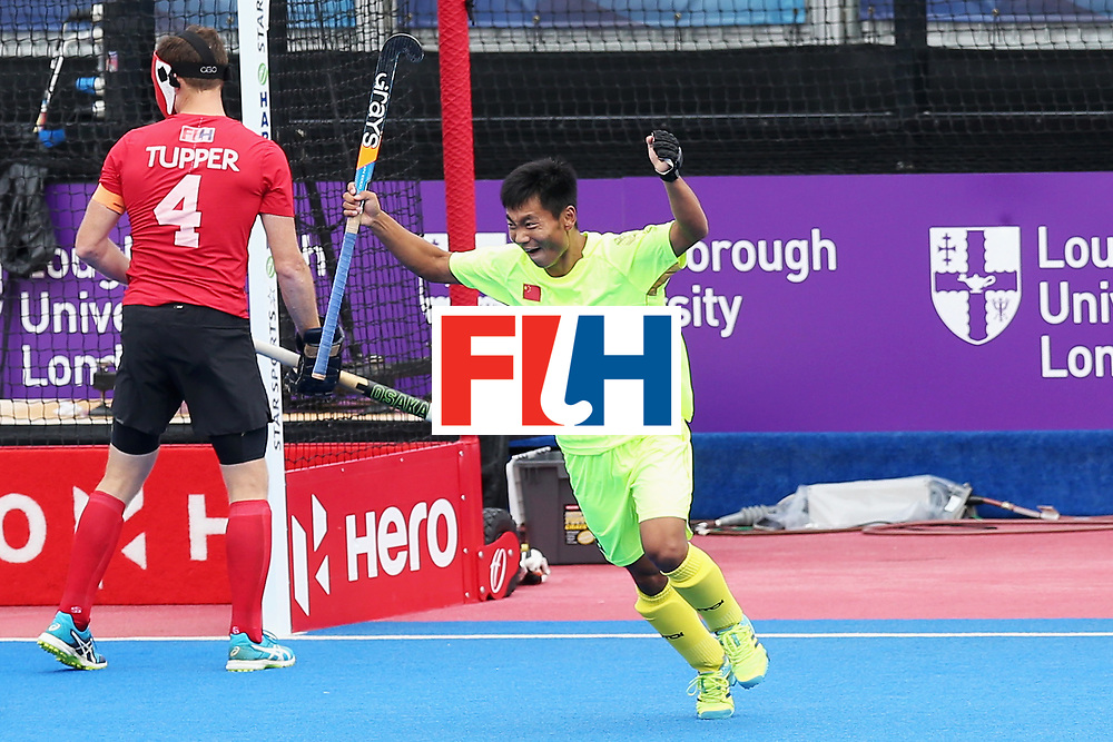 LONDON, ENGLAND - JUNE 24: Wenhui E of China celebrates scoring his sides first goal during the 5th-8th place match between Canada and China on day eight of the Hero Hockey World League Semi-Final at Lee Valley Hockey and Tennis Centre on June 24, 2017 in London, England.  (Photo by Alex Morton/Getty Images)