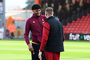 Tyrone Mings (40) of Aston Villa talks to Aaron Ramsdale (12) of AFC Bournemouth ahead of the Premier League match between Bournemouth and Aston Villa at the Vitality Stadium, Bournemouth, England on 1 February 2020.