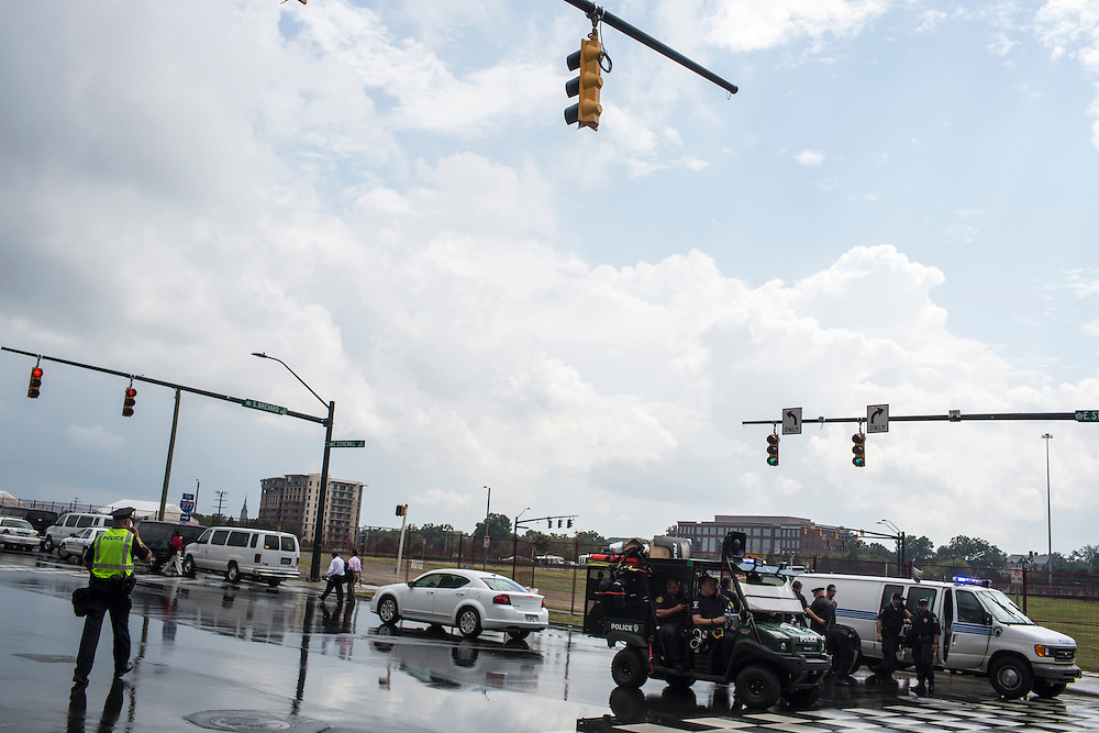 Police control access to the Democratic National Convention on Tuesday, September 4, 2012 in Charlotte, NC.