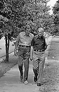 1976 Democratic presidential nominee Jimmy Carter walks through his hometown of Plains, Georgia while talking with former Maine Senator Edmund Muskie. Carter was interviewing his short list of candidates for Vice President. Along with Muskie, the list included astronaut and Senator John Glenn and the eventual Vice President - Walter Mondale.