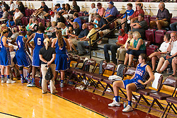 Kentucky Girls All-Star Erin Boley, right, sat and watched from the sidelines most of the game with a leg injury. The Kentucky vs. Indiana All-Star Classic was held, Sunday, June 12, 2016 at Knights Hall in Louisville.