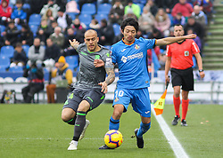 December 15, 2018 - Getafe, Madrid, Spain - Gaku Shibashaki of Getafe  and Sandro of Real Sociedad in action during La Liga Spanish championship, , football match between Getafe and Real Sociedad, December 15, in Coliseum Alfonso Perez in Getafe, Madrid, Spain. (Credit Image: © AFP7 via ZUMA Wire)