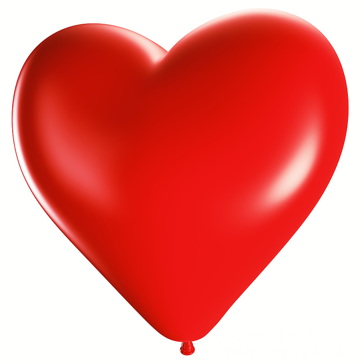 Red Heart Shaped Balloon. Cut out on white background.
