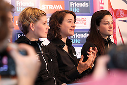 ©Licensed to London News Pictures. 06/05/2014<br /> Kettering Hotel, Kettering, Northamptonshire . Emma Johannson, Marianne Vos and Lizzie Armitstead at The Friends Life Womens Tour of Britain press conference.<br /> Photo credit: Steven Prouse/ LNP