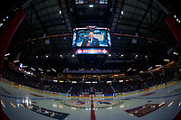REGINA, SK - MAY 23: Sportscaster Rob Faulds is seen on the jumbotron at the start of the game at the Brandt Centre on May 23, 2018 in Regina, Canada. (Photo by Marissa Baecker/CHL Images)