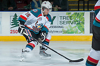 KELOWNA, CANADA -FEBRUARY 10: Kris Schmidli #16 of the Kelowna Rockets skates with the puck against the Seattle Thunderbirds on February 10, 2014 at Prospera Place in Kelowna, British Columbia, Canada.   (Photo by Marissa Baecker/Getty Images)  *** Local Caption *** Kris Schmidli;