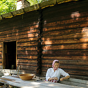 Norwegian Folk Museum, one of the world's oldest and largest open-air museums, with 155 traditional houses from all parts of Norway and a stave church from the year 1200. Oslo, Norway, Europe