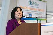 Dr. Diane Wu, Deputy President, NYU welcomes students to Virtual Enterprises International's Global Business Challenge was part of the Youth Business Summit held at NYU's Kimmel Center in New York on April 1, 2014. (Photo: JeffreyHolmes.com)