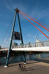 Holbeinsteg footbridge across River Main in Frankfurt Germany