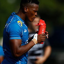 Phendulani Buthelezi of the Cell C Sharks during The Cell C Sharks training session at Jonsson Kings Park Stadium in Durban, South Africa. 18th July 2019 (Mandatory Byline Steve Haag)