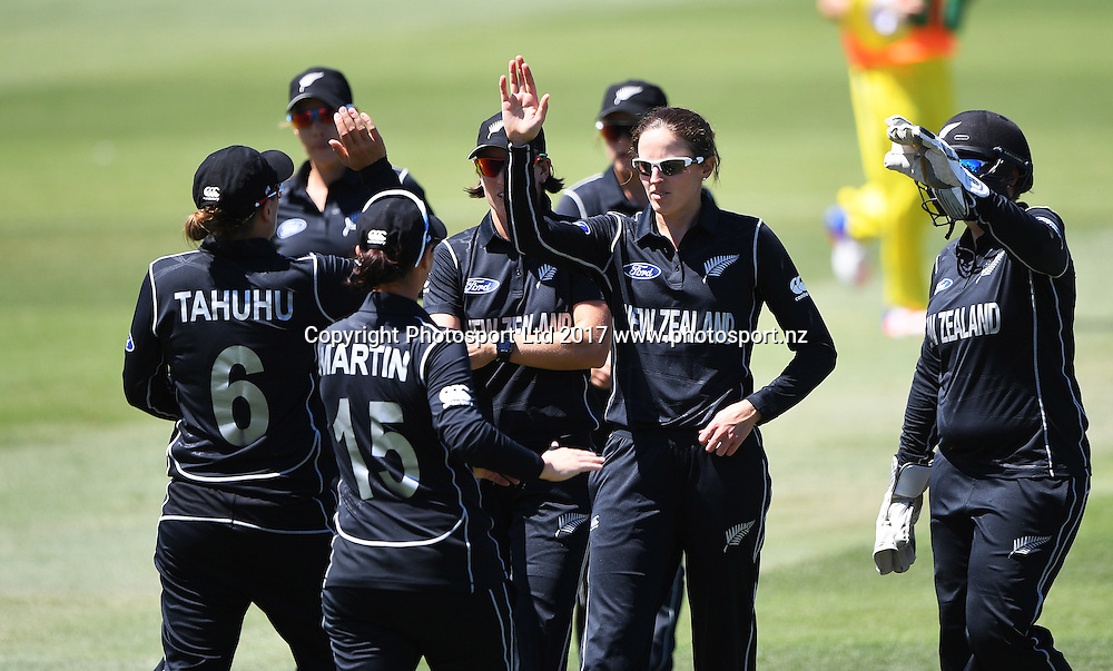 Amy Satterthwaite celebrates the wicket of Villani with team mates. New Zealand White Ferns v Australia Southern Stars. International one day cricket. Eden Park Outer Oval, Auckland, New Zealand. Sunday 26 Februaruy 2017. © Copyright photo: Andrew Cornaga / www.Photosport.nz