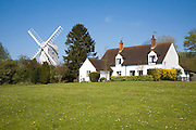 Housing and windmill in the attractive village of Finchingfield, Essex, England